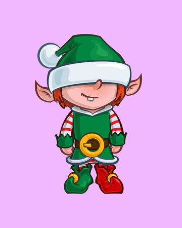 Cartoon Illustration of a Santa Elf Minion Helper. Vector Icon: Lines, Color, Shadows and Lights neatly in well-defined layers & groups