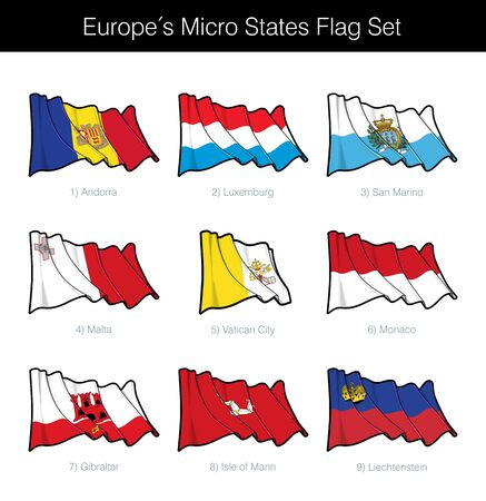 Europe Micro States Waving Flag Set. The set includes the flags of Andorra, Luxembourg, San Marino, Malta, Vatican City, Monaco, Isle of Man, Liechtenstein and Gibraltar. Vector Icons neatly on Layers