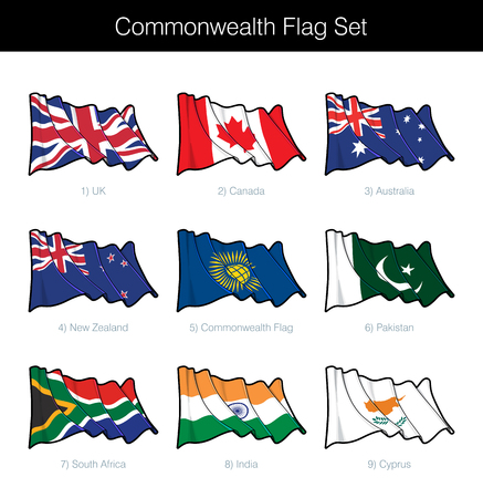 Commonwealth Waving Flag Set. The set includes the flags of UK, Canada, Australia, New Zealand, Pakistan, India, South Africa, Cyprus and the Commonwealth one. Vector Icons neatly on Layers