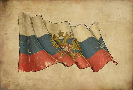 Textured aged Papyrus Background with a scratched illustration of the Waving Flag of Russian State 写真素材