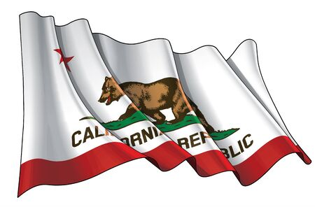 Vector illustration of a Waving Flag of the State of California.  All elements neatly on well-defined layers and groups.
