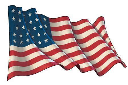 Ilustracja wektorowa macha flagą USA podczas wojny secesyjnej. Wszystkie elementy ładnie układają się i grupują. Wydźwięk sepii na osobnej grupie