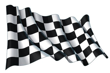 Vector illustration of a motor race waving finish checkers flag. All element neatly on well-defined layers and groups. Easy to edit colors via Global Color