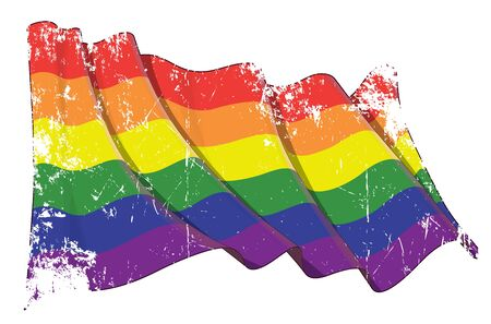 Vector textured grunge illustration of a Gay Pride Parade waving flag. All element neatly on well-defined layers and groups.  Easy to edit colors via Global Color Çizim