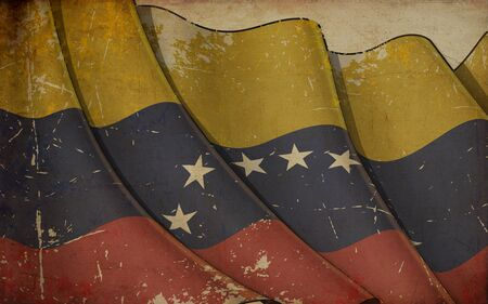 Background illustration of an old paper with a print of a waving Flag of Venezuela 写真素材