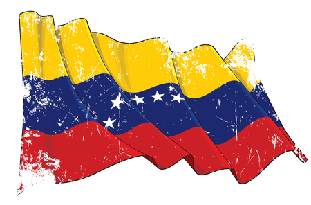 Vector Textured Grunge illustration of a Waving Flag of Venezuela. All elements neatly on well-defined layers and groups.