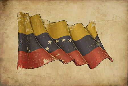 Textured aged Papyrus Background with a scratched illustration of the Waving Flag of Venezuela