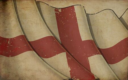 Background illustration of an old paper with a print of a waving Flag of England 写真素材