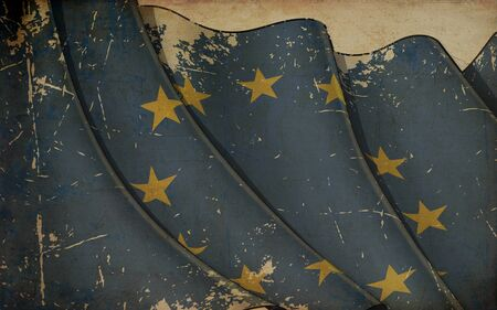 Background illustration of an old paper with a print of a waving Flag of European Union