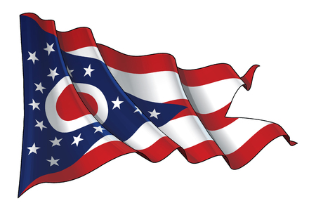 Vector illustration of a Waving Flag of the State of Ohio. All elements neatly on well-defined layers and groups.