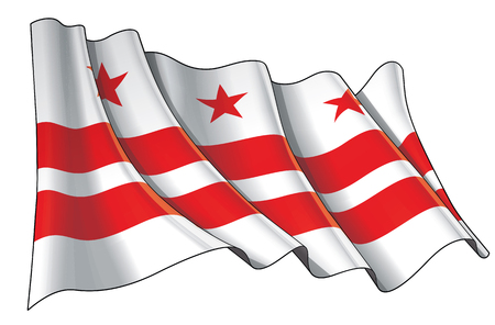Vector illustration of a Waving Flag of Washington DC. All elements neatly on well-defined layers and groups. Illustration
