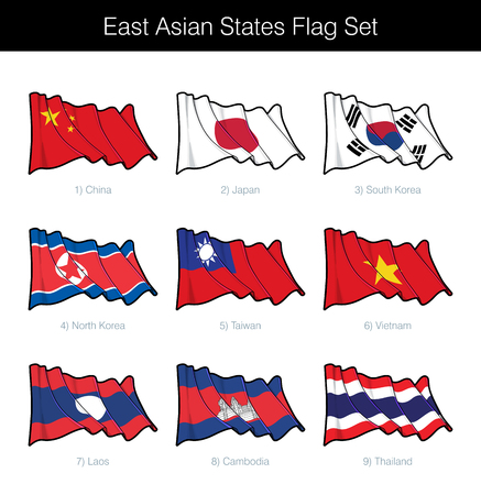 East Asian States Waving Flag Set. The set includes the flags of China, Japan, South and North Korea, Taiwan, Vietnam, Laos, Cambodia and Thailand. Vector Icons all elements neatly on Layers n Groups