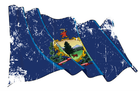 Vector Textured Grunge illustration of a Waving Flag of the State of Vermont. All elements neatly on well-defined layers and groups.
