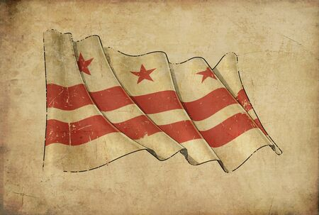 Textured aged Papyrus Background with a scratched illustration of the Waving Flag of Papyrus Background – Flag of Washington DC Stok Fotoğraf