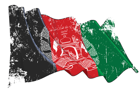 Vector Textured Grunge illustration of a Waving Flag of Afghanistan. All elements neatly on well-defined layers and groups.