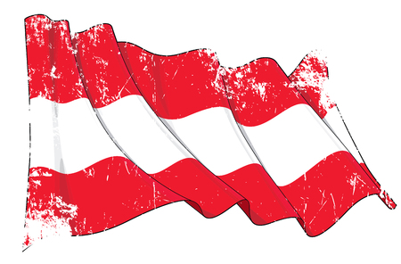 Vector Textured Grunge illustration of a Waving Flag of Austria. All elements neatly on well-defined layers and groups. Ilustração