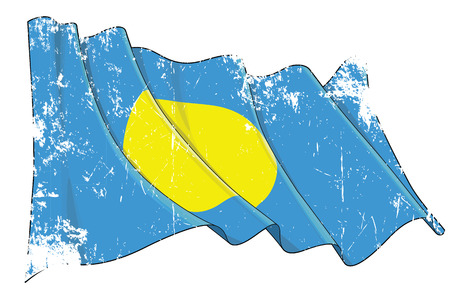 Vector Textured Grunge illustration of a Waving Flag of Palau. All elements neatly on well-defined layers and groups.