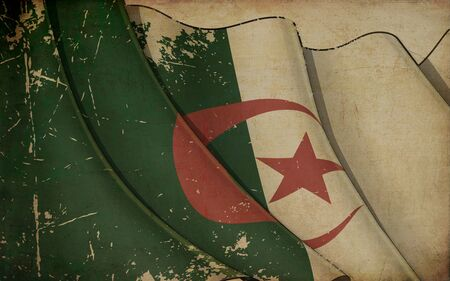 Background illustration of an old paper with a print of a waving Flag of Algeria 写真素材