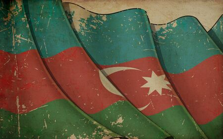 Background illustration of an old paper with a print of a waving Flag of Azerbaijan