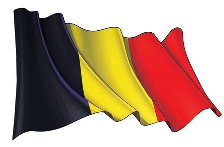 Vector illustration of a Waving Flag of Belgium. All elements neatly on well-defined layers and groups.