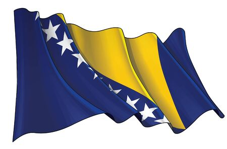 Vector illustration of a Waving Flag of  Bosnia and Herzegovina. All elements neatly on well-defined layers and groups.