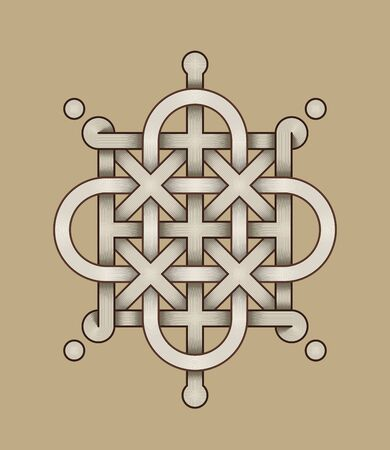Vector Illustration of a Celtic knot - mystic, decorative symbol with intertwined engraved lines. Lines, engraving and fill color neatly in separate well-defined Layers.