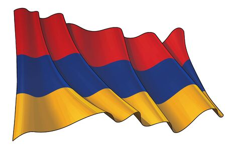 Vector illustration of a Waving Flag of Armenia. All elements neatly on well-defined layers and groups.