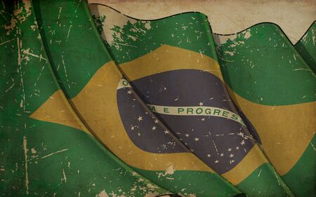 Background illustration of an old paper with a print of a waving Flag of Brazil