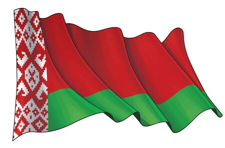 Vector illustration of a Waving Flag of Belarus. All elements neatly on well-defined layers and groups.