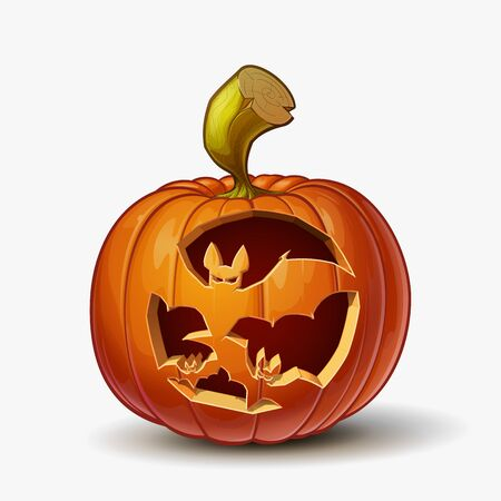 Halloween Cartoon vector illustration of a Jack-O-Lantern pumpkin with a flying bats curving, isolated in white. Pumpkin and Curving Lineart and shading neatly organized on layers n groups Banque d'images - 130814639