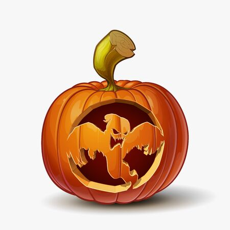 Halloween Cartoon vector illustration of a Jack-O-Lantern pumpkin with a Spooky Ghost curving, isolated in white. Pumpkin and Curving Lineart and shading neatly organized on layers n groups