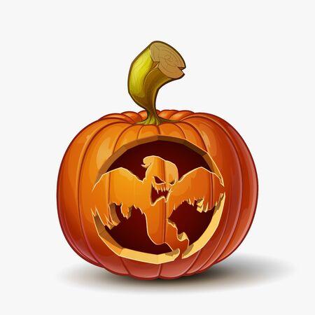Halloween Cartoon vectorillustratie van een Jack-O-Lantern pompoen met een Spooky Ghost gebogen, geïsoleerd in wit. Pompoen en gebogen Lineart en arcering netjes georganiseerd op lagen n groepen