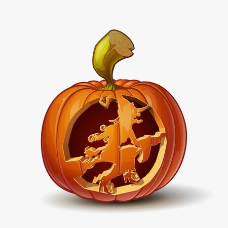 Halloween Cartoon vector illustration of a Jack-O-Lantern pumpkin with a Witch on Broom curving, isolated in white. Pumpkin and Curving Lineart and shading neatly organized on layers n groups