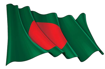 Vector illustration of a Waving Flag of Bangladesh. All elements neatly on well-defined layers and groups. 일러스트