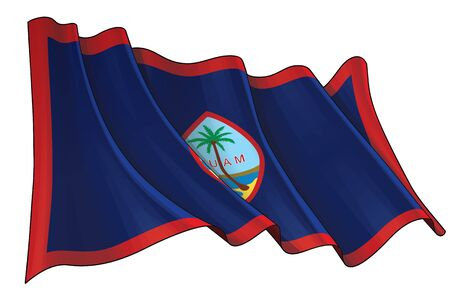 Vector illustration of a Waving Flag of Guam. All elements neatly on well-defined layers and groups.