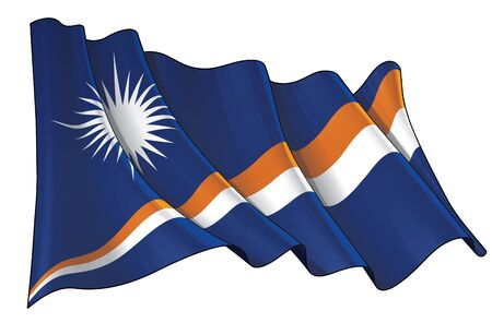 Vector illustration of a Waving Flag of Marshal Islands. All elements neatly on well-defined layers and groups. Illustration