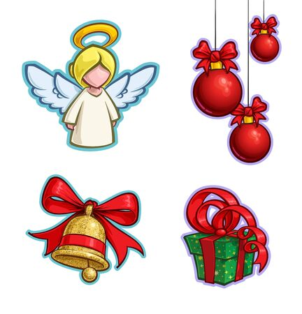 Vector Cartoon Icon set of an Angel, tree Hanging Christmas Balls Bell and a Gift. Illustrations Lines, Color, Shadows and Lights neatly in well-defined layers & groups
