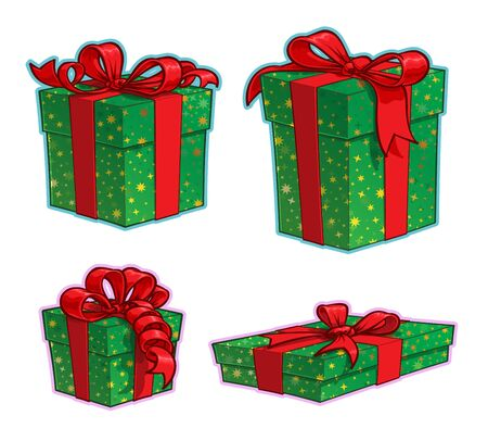 Vector Cartoon Icon set of Four Green Wrapped Present Boxes with Red Ribbon Bows in various sizes. Illustrations Lines, Color, Shadows and Lights neatly in well-defined layers & groups Illustration