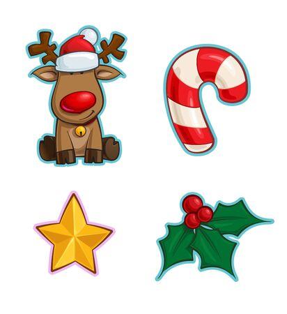 Vector Cartoon Icon set di Rudolf la renna dal naso rosso, un bastoncino di zucchero, una stella di Natale e un vischio di agrifoglio. Illustrazioni Linee, colori, ombre e luci ordinatamente in livelli e gruppi ben definiti