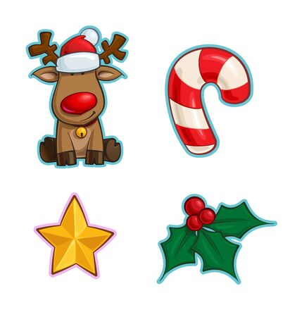 Vector Cartoon Icon set of Rudolf the Red-Nose Reindeer, a Candy Cane, a Christmas Star and a Holly Mistletoe. Illustrations Lines, Color, Shadows and Lights neatly in well-defined layers & groups Фото со стока - 132200600