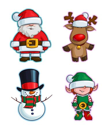 Vector Cartoon Icon set of Santa Claus, Rudolf the Red-Nose Reindeer, a Snowman and an Elf. Illustrations Lines, Color, Shadows and Lights neatly in well-defined layers & groups