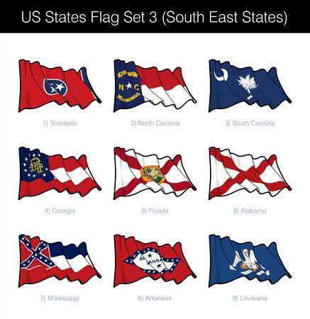 US South East States Flag Set. It includes the flags of Tennessee, North and South Carolina, Georgia, Florida, Alabama, Mississippi, Arkansas n Louisiana. Vector Icons all elements neatly on Layers Vector Illustration