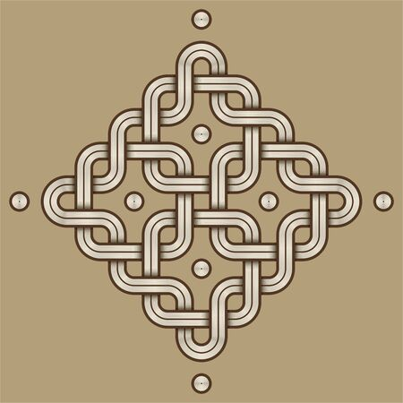 Vector Illustration of a Viking Nordic knot - mystic, decorative symbol with interweaved Engraved lines. Lines, engraving and fill color neatly in separate well-defined Layers.