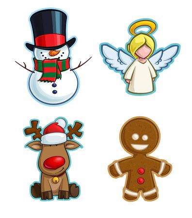 Vector Cartoon Icon set of a Snowman, an Angel, Rudolf the  Red-Nose Reindeer and a Gingerbread Man. Illustrations Lines, Color, Shadows and Lights neatly in well-defined layers & groups