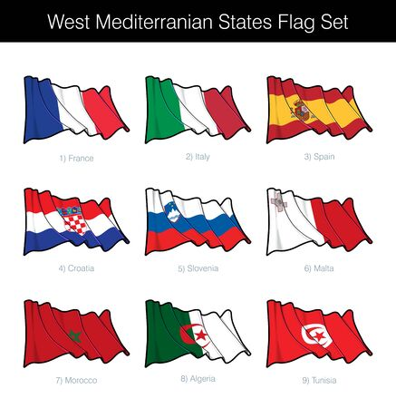 West Mediterranean States Waving Flag Set. The set includes the flags of France, Italy, Spain, Croatia, Slovenia, Malta, Morocco, Algeria n Tunisia. Vector Icons all elements neatly on Layers n Groups