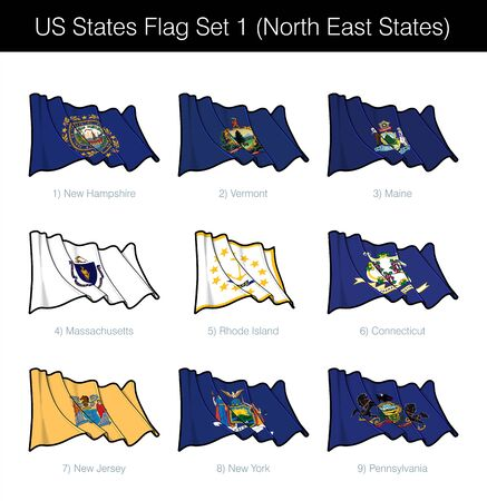 US States waving vector Flag icon Set - North East. The set includes the flags of New Hampshire, Vermont, Maine, Massachusetts, Rode Island, Connecticut, New Jersey, New York and Pennsylvania.