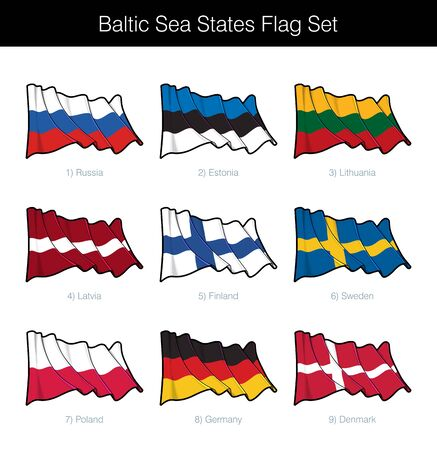 Baltic Sea States Waving Flag Set. The set includes the flags of Russia, Estonia, Lithuania, Latvia, Finland, Sweden, Poland, Germany and Denmark. Vector Icons all elements neatly on Layers and Groups Illustration