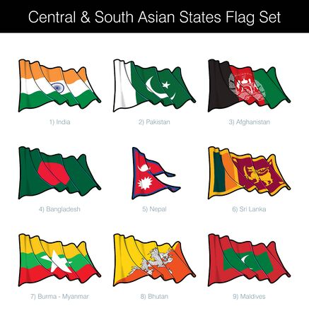 Central and South Asian States Waving Flag Set. The set includes the flags of India, Pakistan, Afghanistan, Bangladesh, Nepal, Sri Lanka, Burma, Bhutan and Maldives. Vector Icons neatly on Layers