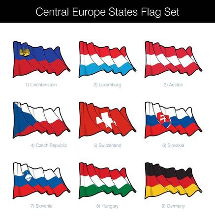 Central Europe States Waving Flag Set. The set includes the flags of Liechtenstein, Luxemburg, Austria, Czechia, Switzerland, Slovakia, Slovenia, Hungary and Germany. Vector Icons neatly on Layers