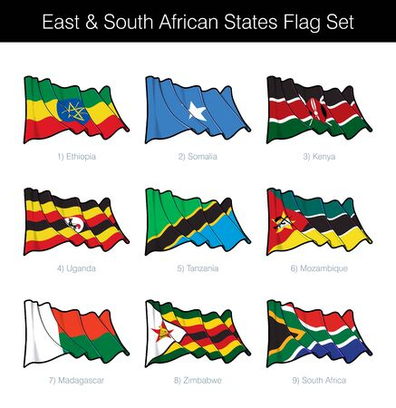 East and South African States Waving Flag Set. The set includes the flags of Ethiopia, Somalia, Kenya, Uganda, Tanzania, Mozambique, Madagascar, Zimbabwe n South Africa. Vector Icons neatly on Layers